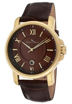 4c954a3f2214 Lucien Piccard Watch 12358 YG 04 Men s Cilindro Brown Dial Brown Genuine  Leather