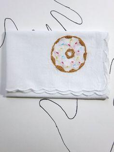 Embroidered Donut Handkerchief by wrenbirdarts    Embroidered Handkerchiefs, Sweet Tooth, Modern Embroidery