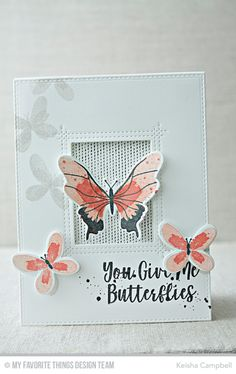 Beautiful Butterflies Card Kit, Distressed Patterns Stamp Set, Scattered Surfaces Background, Rectangle Window Peek-a-Boo Window Die-namics - Keisha Campbell  #mftstamps
