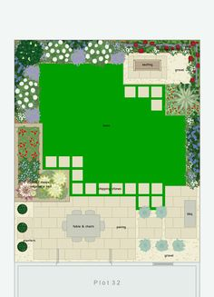 Garden design with central lawn with interesting edges.