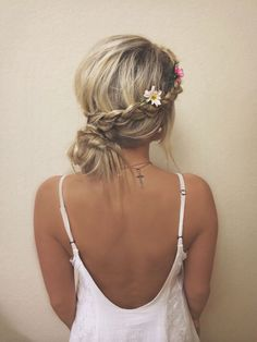 Loose braided up-do with flowers