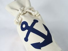 Wine Bag Blue Anchor Canvas Marine Rope Knot Nautical Hostess Party Bottle Reusable Tote. $11.00, via Etsy.