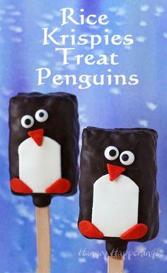 Chocolate Rice Krispie Treat Penguin Lollipops   HungryHappenings.com