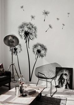 Beautiful-Black-and-White-Living-Room-Design-Ideas-with-Flower-dendelion-wall-sticker