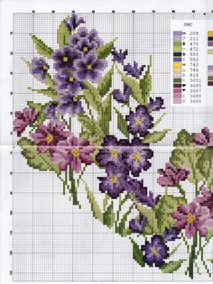 Cute Cross Stitch, Cross Stitch Heart, Cross Stitch Cards, Cross Stitch Flowers, Diy Embroidery, Cross Stitch Embroidery, Cross Stitch Patterns, Cross Stitch Pictures, Purple Roses