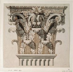 Architectural drawing. Corinthian capital. 1798. after Giocondo Albertolli. pen brown ink and grey wash on paper.