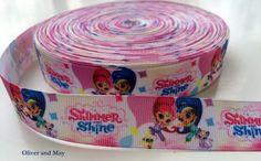 3 yards 7/8 Shimmer and Shine Grosgrain Ribbon  by OliverAndMay