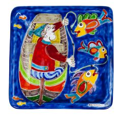 Depicting a magnificent boat fishing scene, this hand crafted and beautifully hand painted DS Square Plate is sure to brighten up any space in the home. Marlin Fishing, Trout Fishing, Fishing Gifts, Fishing Reels, Fishing Rod, Ice Fishing, Fishing Bobbers, Fishing Tackle, Key West Fishing