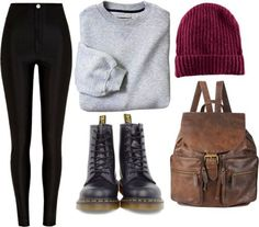 Love the backpack with the combat boots and cranberry hat!