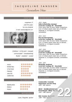 Opvallend en creatief CV Sjabloon + sollicitatiebrief sjabloon, te bewerken in MS Office, direct downloadbaar: http://deleydsche.nl/product/cv-sjabloon-22
