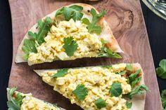 Curried Egg Salad on Naan