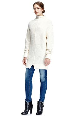 Long Wool Mock Neck Sweater by Carven Now Available on Moda Operandi