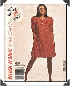 McCALLS Pattern 5690 - Misses Stitch n Save Dress w/Lower Gathered Flounce - Sz 12 B34 - Vintage 1990s. $3.00, via Etsy.