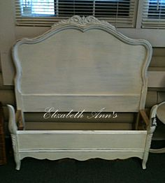 French Provencal Twin Bed, ASCP Old White with details in Pure White