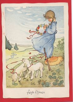 Artist card signed MS Margret Savelsberg Easter little one lamb 1940 Easter Bunny Pictures, Artist Card, Special Images, Classic Paintings, Whimsical Art, Vintage Pictures, Cute Art, Vintage Art, Illustration Art