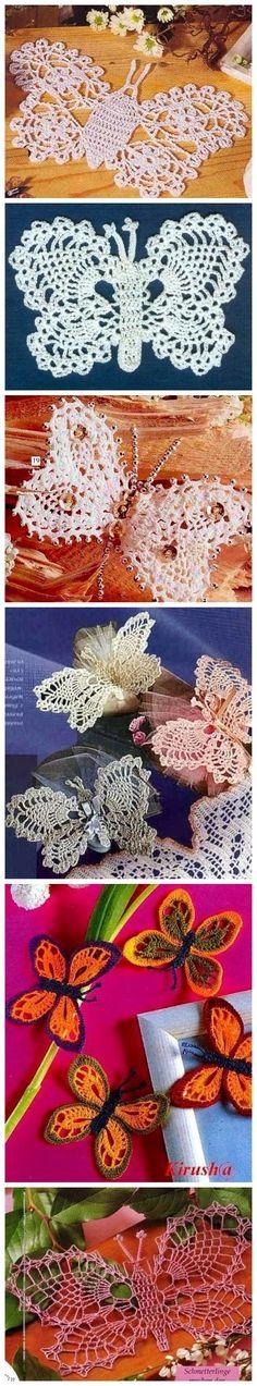 Lots of free crochet butterfly motif patterns!
