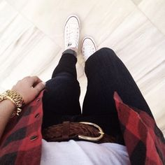 White shirt with a checkered over-shirt, brown accessories, cuffed jeans, and white converse // Suburban Faux-Pas