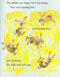 """rabbits from """"The Large and Growly Bear,"""" illustrated by J.P. Miller, written by Gertrude Crampton, Copyright 1961"""
