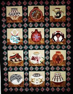 "Bountiful Blessings. Inspired by Pueblo artistry of NM & AZ. Beautifully detailed applique. Finished quilt 70"" x 90"". Block of the month kits. Love the sashing design."