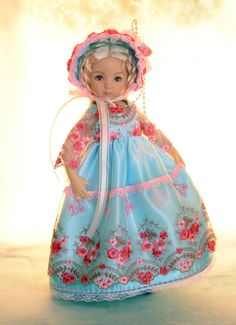 "SOLD ""Garden of Bliss"" Blue Regency Dress, Clothes for 13"" Effner Little Darling #LuminariaDesings"