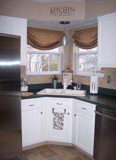 47 Trendy kitchen corner window over sink Window Over Sink, Kitchen Sink Window, Kitchen Window Curtains, Kitchen Sink Design, New Kitchen Cabinets, Kitchen Corner, Kitchen Redo, Kitchen Remodel, Kitchen Sinks