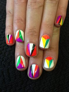 Colourblock triangles and pyramids