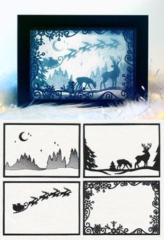 Stitch four panels on organza using a heavy duty water soluble stabilizer, then rinse to reveal a scene that can be layered in a festive shadowbox! Follow project instructions for details. Stitch count listed is for all pieces together.