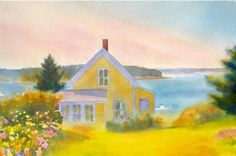 Yellow House, Summer Afternoon by Suzanne Siegel. Archival pigment print on rag paper, signed and numbered by the artist. Print is made from an original watercolor painting of a summer afternoon in Maine. Watercolor Landscape Paintings, Yellow Houses, House Illustration, Easy Watercolor, Watercolour, Mellow Yellow, Yellow Art, Oeuvre D'art, Painting Inspiration