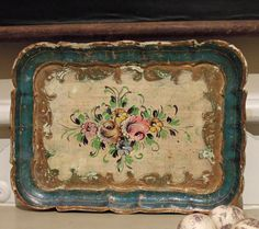 Vintage Italian Florentine Handpainted Tray    We especially love this very special handpainted shabby chic and chippy teal blue and gold Italian