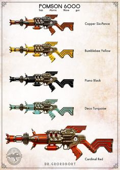 Pomson 6000 Sub Atomic Wave Gun Steampunk Weapons, Sci Fi Weapons, Weapon Concept Art, Fantasy Weapons, Sci Fi Fantasy, Fallout, Future Weapons, Retro Futuristic, Science Fiction Art
