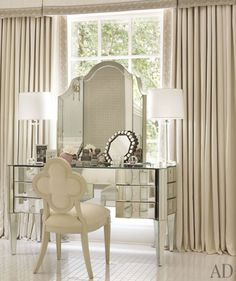 mirrors, architectural digest, mirrored furniture, chairs, dream