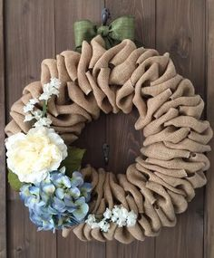 Peony and hydrangea burlap wreath by willowbloomwreaths