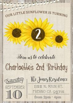 Sunflower Birthday Party Invitation Invite Rustic Summer Fall
