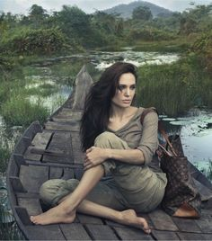 """The Cambodian setting and """"mother earth"""" feel for Angelina Jolie is fitting for the actress, who found time in between making all those movies and adopting all those children to advocate for Cambodia on the international stage. Photography by Annie Leibovitz for Louis Vuitton's """"Core Values"""" 2011 ad campaign."""