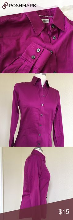 Banana Republic Magenta Long Sleeve Blouse Sz 6 Approximate measurements Armpit to armpit 17.5 inches  Sleeve length 24 inches Total length 25.5 inches                                                  Excellent preowned condition. No holes, tears, or stains. Banana Republic Tops Button Down Shirts