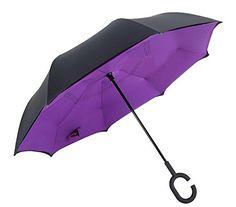 Huiyuzhi Travel Umbrella Waterproof C Shape Double Layer Reverse Umbrella (Purple, One Size) ** undefined #Umbrellas