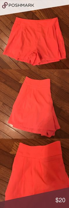 Neon pink chiffon shorts Neon pink chiffon shorts. Small pleats in front, stretchy waistband in back. Can be worn high waisted. POCKETS! American Eagle Outfitters Shorts