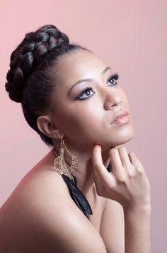 top braided bun african american hair style http://beautifulbrownbride.blogspot.com/