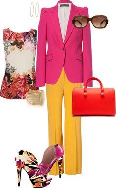 """How to Wear Fuchsia 3""  http://enjoyingmakeup.blogspot.sk/2013/04/fuchsia-blazer-from-zara.html"