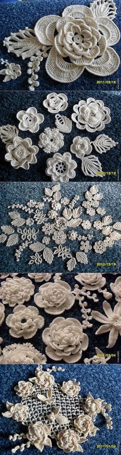 Irish crochet motifs……..