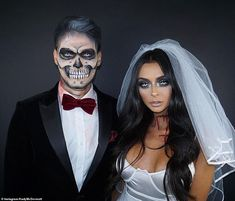 Good work: Like Charlotte and Josh, Kady favoured a 'his and her' dead Bride and Groom costume with boyfriend Myles disfraz parejas novios Rita Ora UNRECOGNISABLE as Post Malone in celebrity Halloween snaps Scary Couples Halloween Costumes, Funny Couple Halloween Costumes, Best Couples Costumes, Funny Couples, Halloween 2020, Scariest Halloween Costumes Ever, Batman Costumes, Funny Costumes, Family Costumes