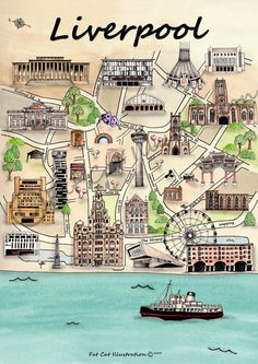 Illustrated Liverpool Map by FatCatIllustration on Etsy, £5.00