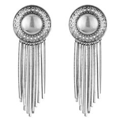 Channel this seasons 70s vibe with these large fringe disc earrings, featuring metal fringe detail and a post-clip backing.Materials: Base MetalLength: 3.5 in.Width: 1.25 in.