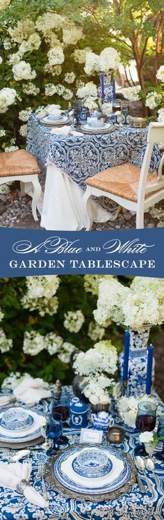 Get ready for summer with this Blue and White Garden Tablescape filled with white Hydrangeas and loads of blue & white china. Plus I share how to make your own Blue & White no-sew tablecloth! | Celebrating Everyday Life with Jennifer Carroll