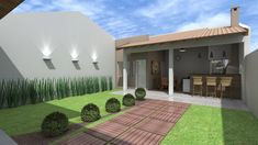 The leisure space does not require ample ground to install recreational items to relax and hold a meeting with friends and family. THE small play area. Ideas Terraza, Bungalow, Patio Grande, Pool House Plans, Village Houses, Small Places, Outdoor Kitchen Design, Outdoor Living, Outdoor Decor