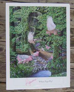 """Pigasus When Pigs Fly"" 18x24 print by artist Darcy Gerdes"