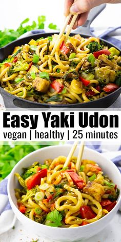 These yaki udon noodles will make a delicious and simple vegan dinner for the whole family! The recipe is easy to prepare and it's packed with fresh vegetables and Japanese flavors. 25 minutes is all you need for this easy stir-fry! Find more vegan recipes at veganheaven.org! #vegan #veganrecipes