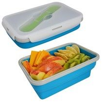 Collapsed single compartment with expanded single compartment filled with food.