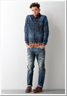 FDMTL – the denim brand from Japan- came out with a lot of distressed, bi colors ,patchworks and military looks in their collection. Military Looks, Double Denim, Denim Branding, Mens Fashion, Fashion Outfits, Fall Winter 2014, Jeans And Boots, Street Style, Luxury