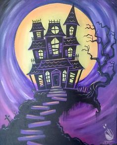 How to Paint Haunting House - Public Halloween Canvas, Halloween Rocks, Halloween Painting, Halloween Drawings, Halloween Prints, Halloween Art, Diy Painting, Pumpkin Painting, Halloween 2018